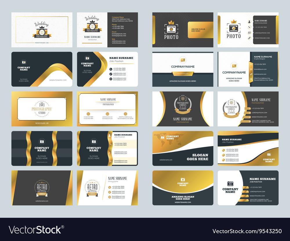 Set of creative golden business card design vector image on VectorStock