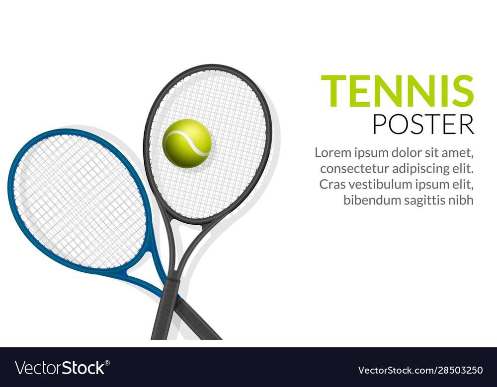 Tennis Banner Background Tennis Ball Racket Vector Image