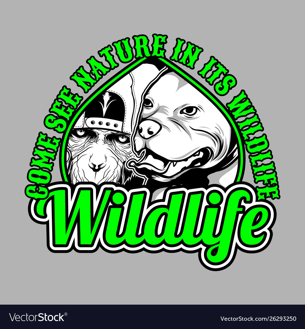 Wildlife dog and monkey with slogan hand