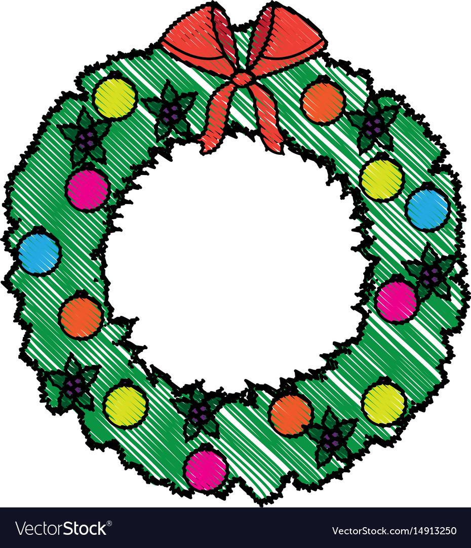 Wreath crown christmas decoration celebration vector image