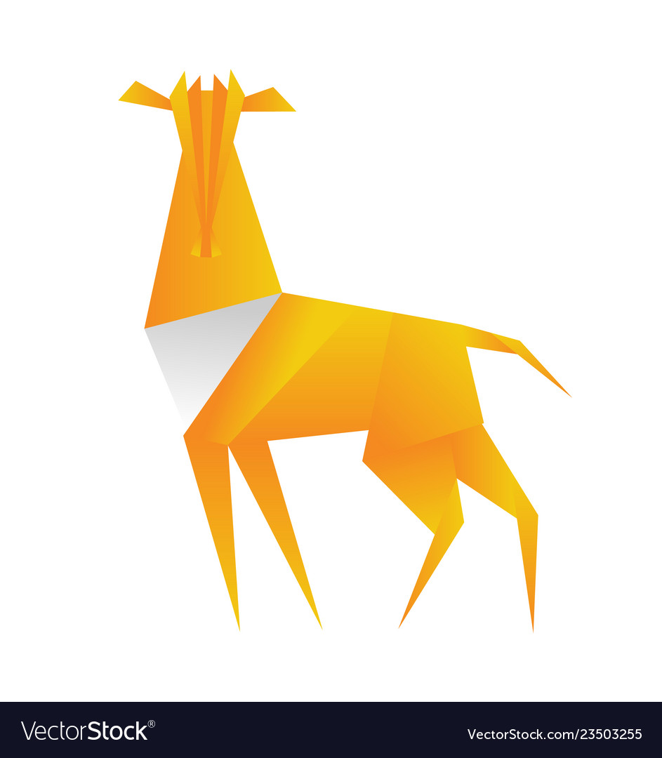 Antelope origami in polygonal style triangle vector