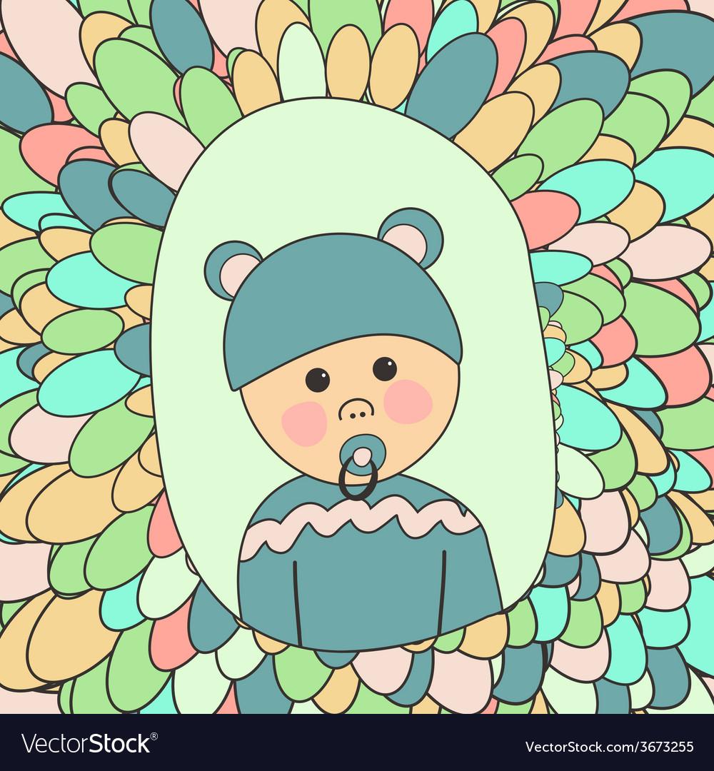 Baby Shower Card Little Cute Boy in Hat with Ears