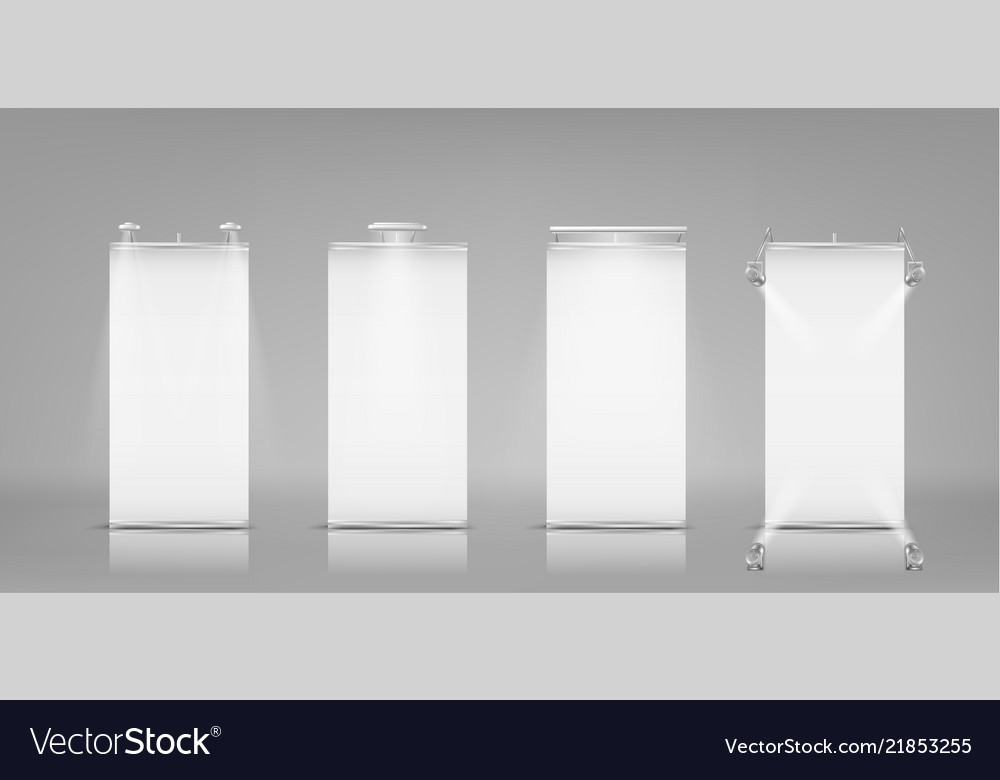 Blank roll-up banners vertical stands