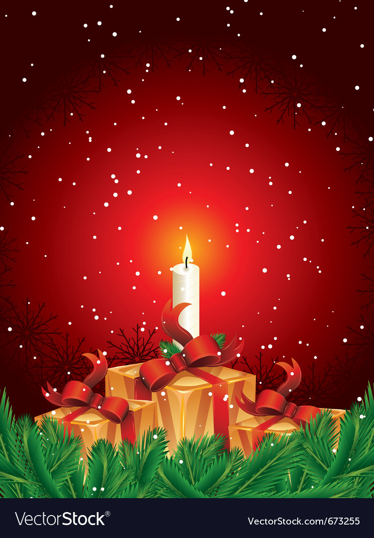 Christmas Gift Packages.Christmas Gift Packages With Candle And Pine Leave