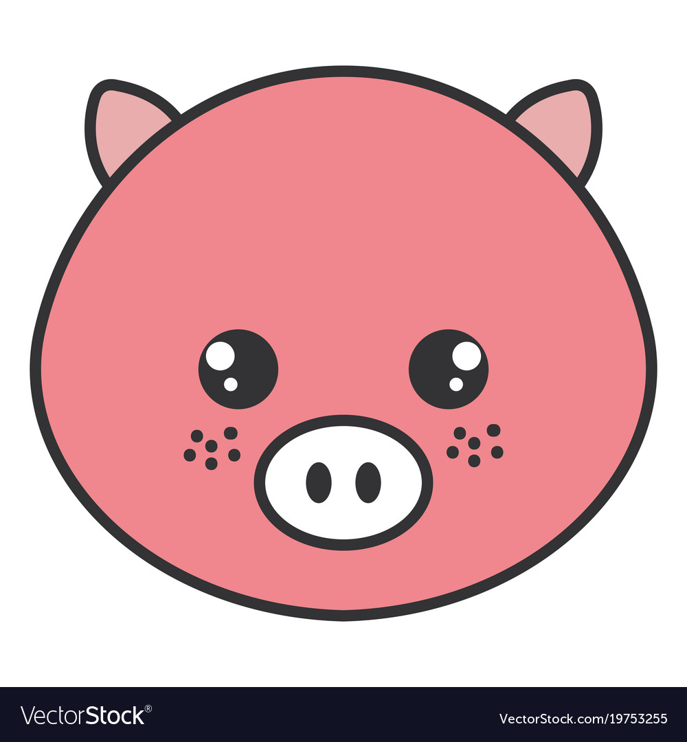 Cute And Tender Pig Head Character Royalty Free Vector Image