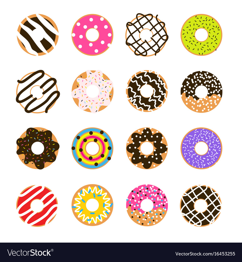 Donut set isolated on white doughnut