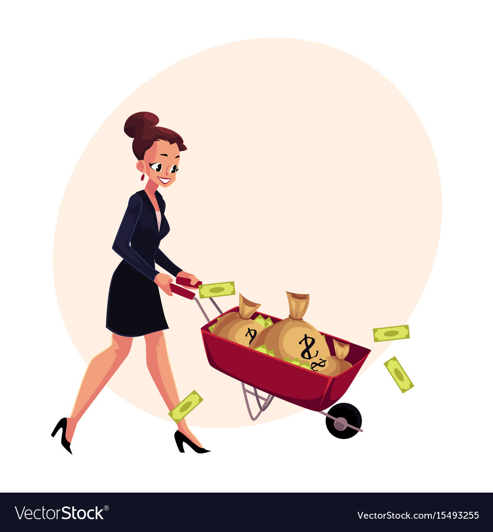 Happy woman girl businesswoman pushing vector image