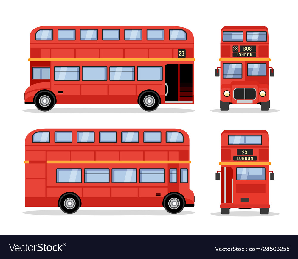 London double decker red bus cartoon vector