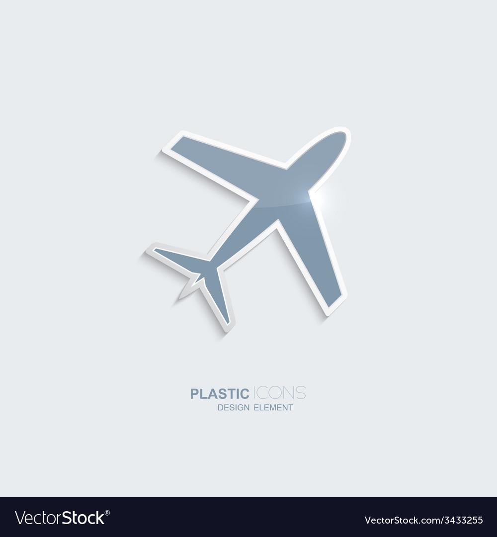 Plastic icon airplane symbol