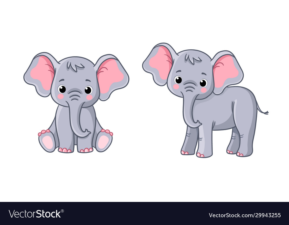 Set with little elephants in different poses on a