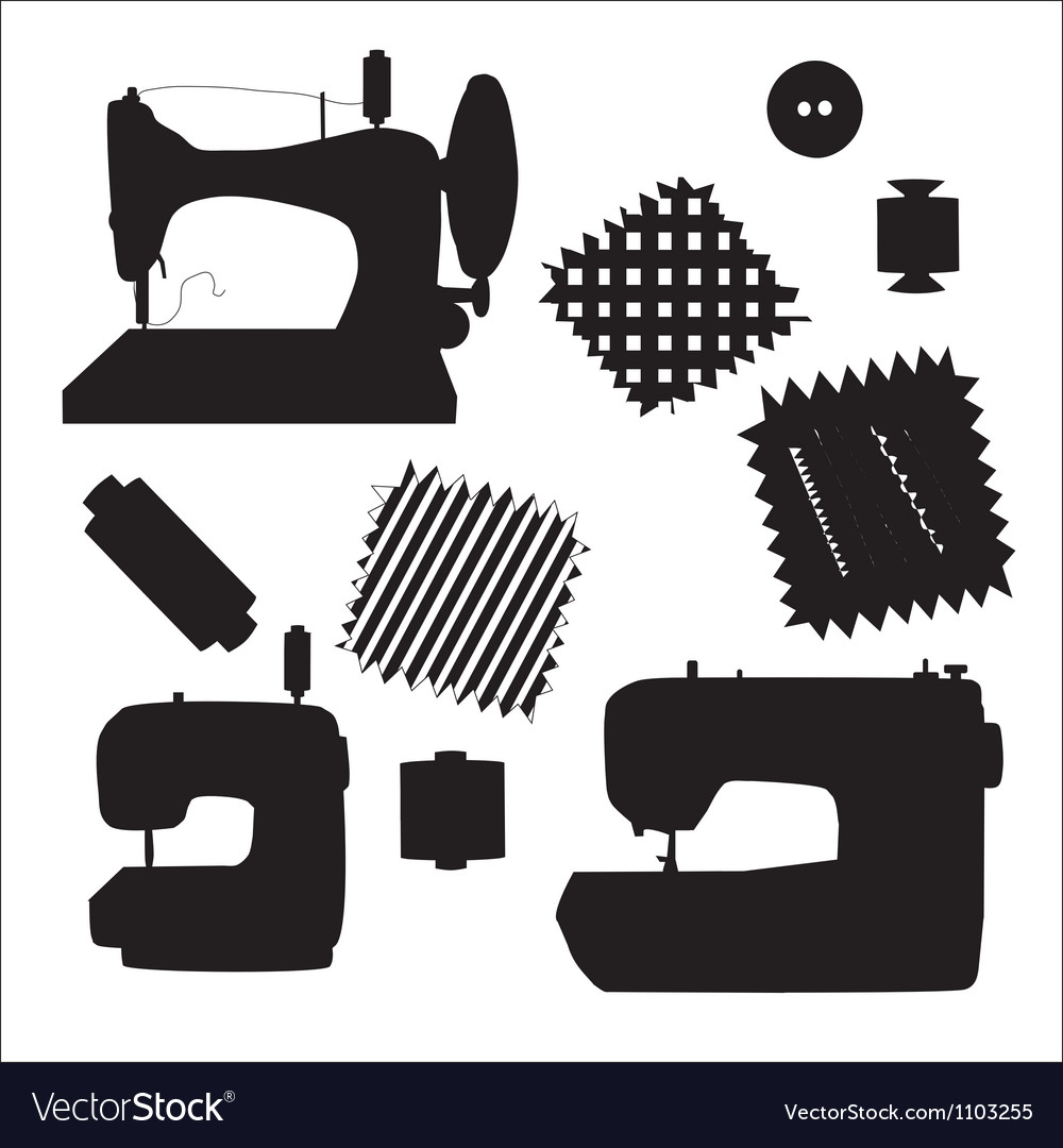 Sewing machines kit black silhouette vector image