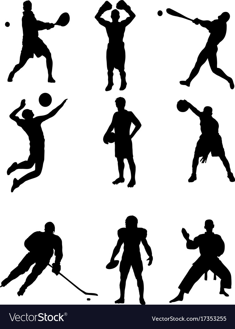 silhouettes athletes royalty free vector image  vectorstock