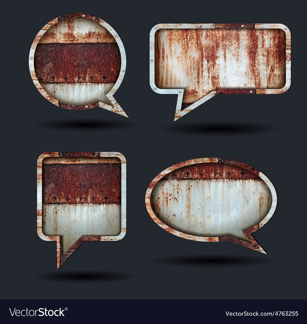 Speech bubble icons grunge metal background
