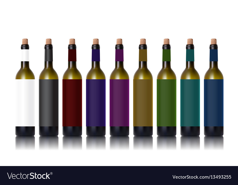 Various color bottles with red wine and glass