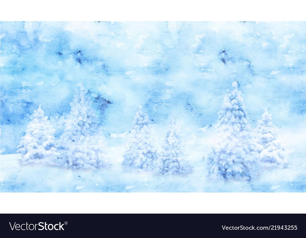Watercolor winter landscape