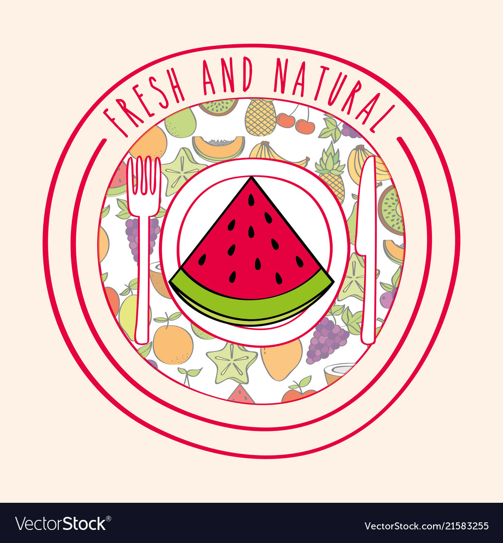 watermelon fresh and natural fruits food label vector image
