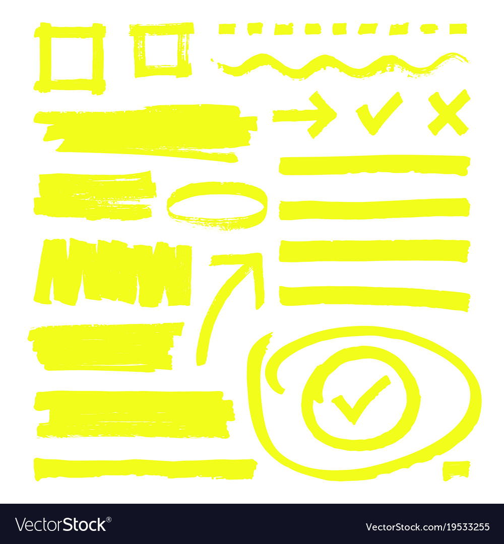 Yellow highlighter lines arrows and frame boxes
