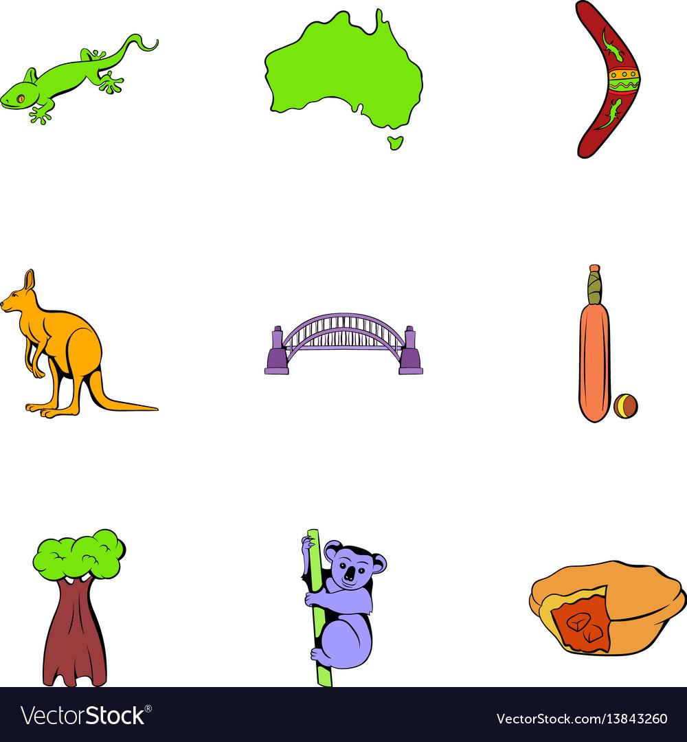 Australia icons set cartoon style