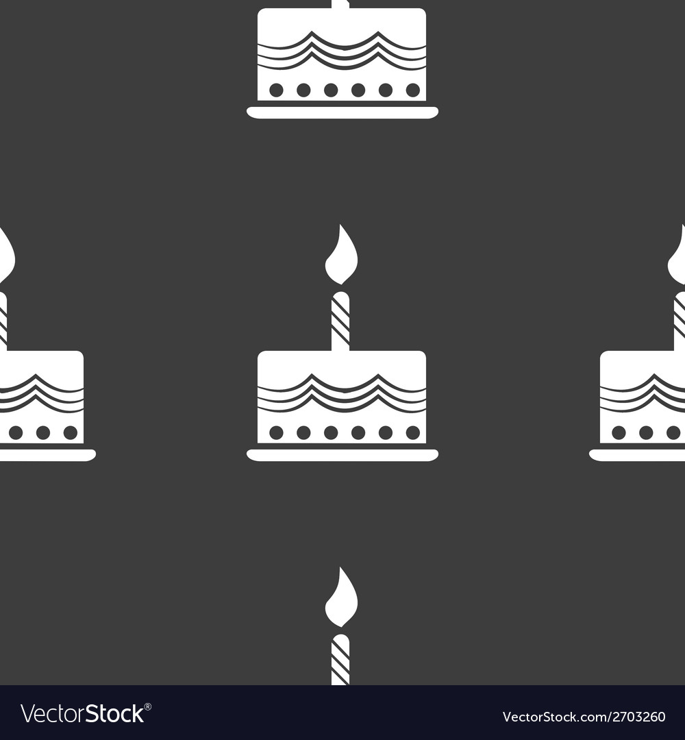 Cake web icon flat design Seamless gray pattern