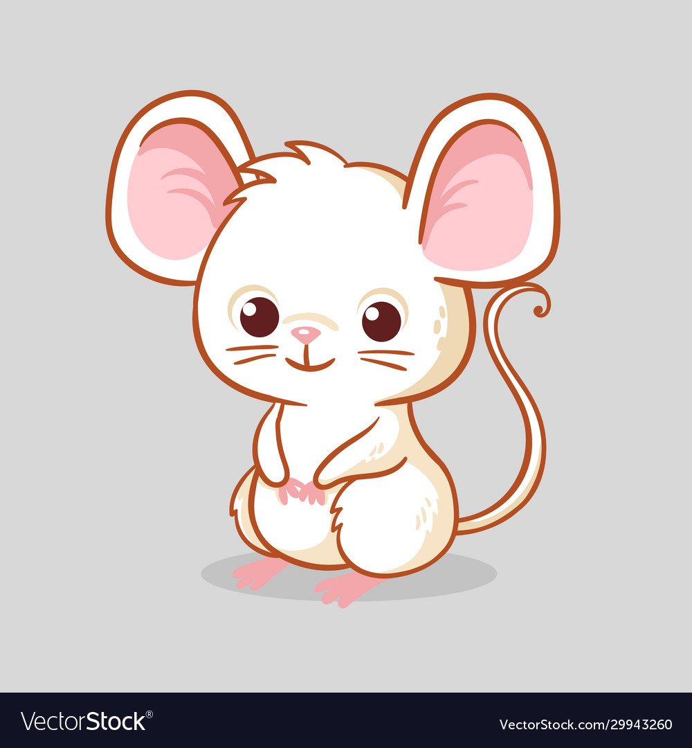 Cute little mouse is sitting on a gray background