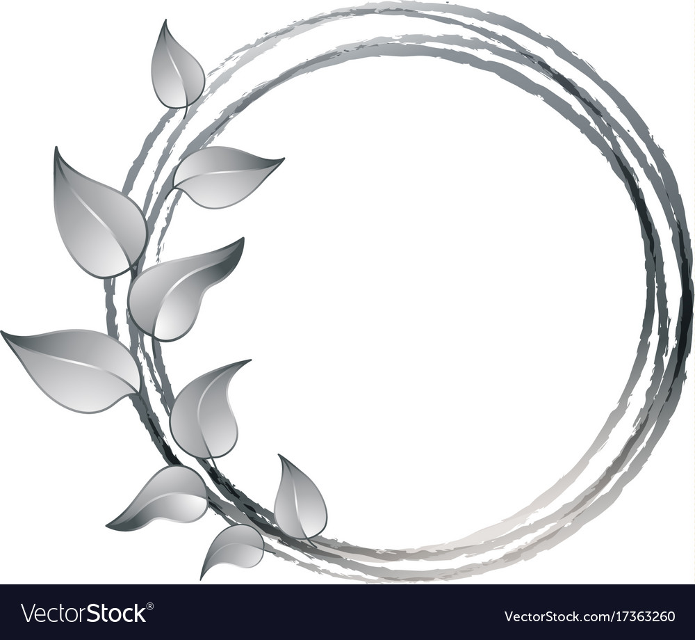 Decorative frame with leaves made in silver color
