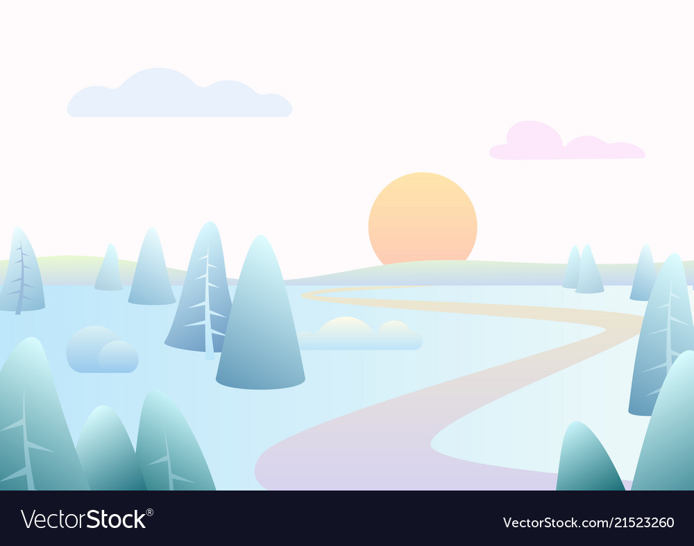 Fantasy simple winter road river landscape with