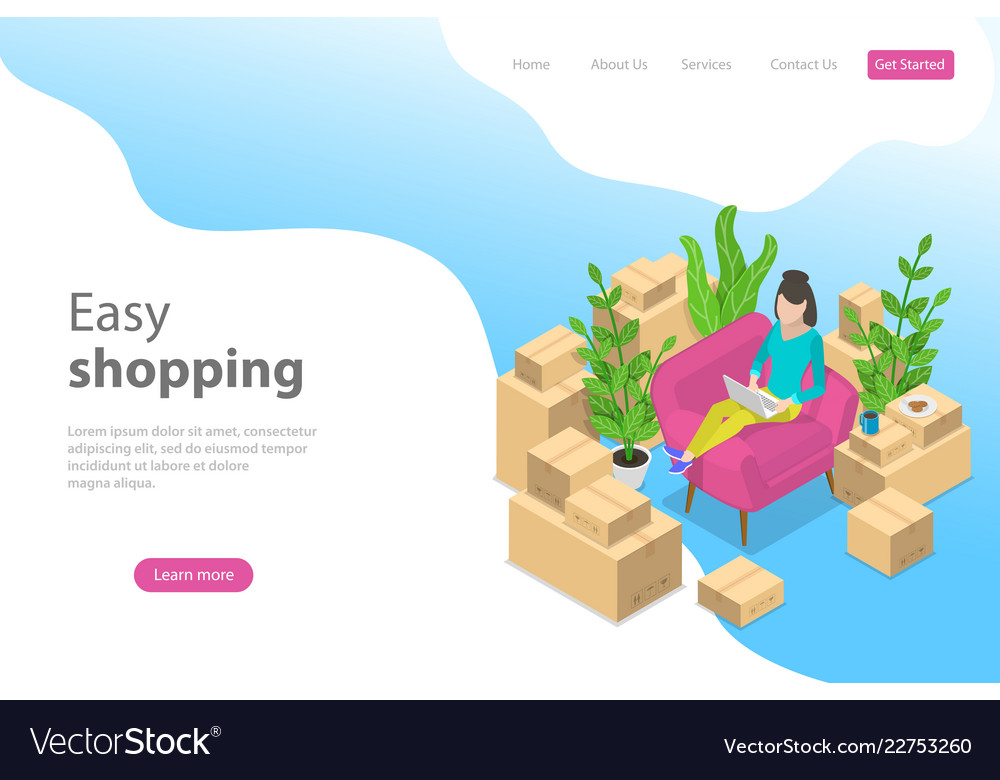 Flat isometric landing page template for
