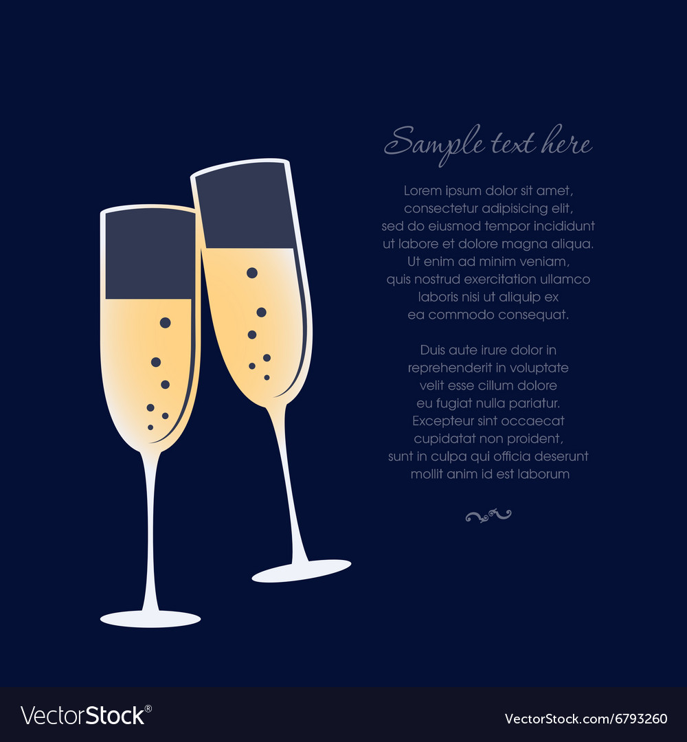Glasses of champagne isolated on dark blue