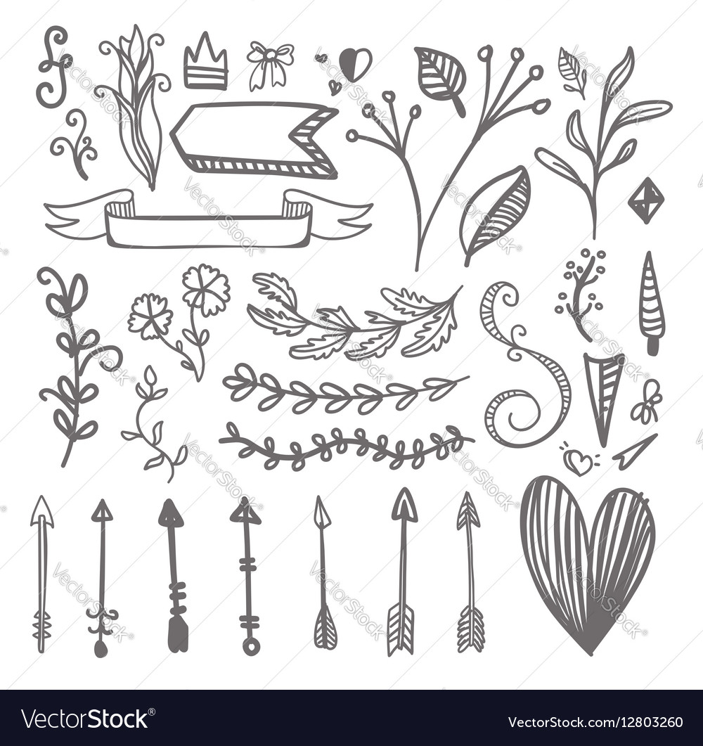 Hand drawn pattern on hearts bows arrows vector image