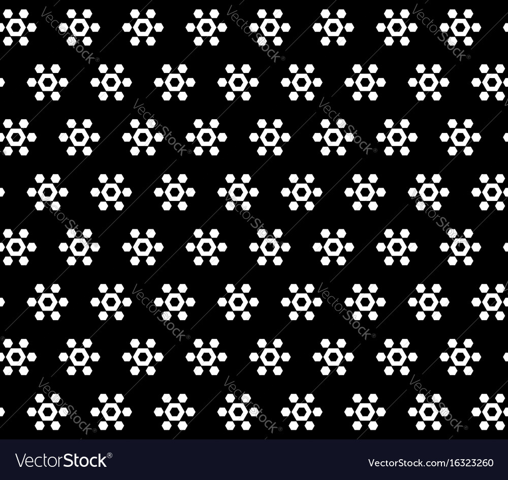 Hexagonal floral figures on black background vector image