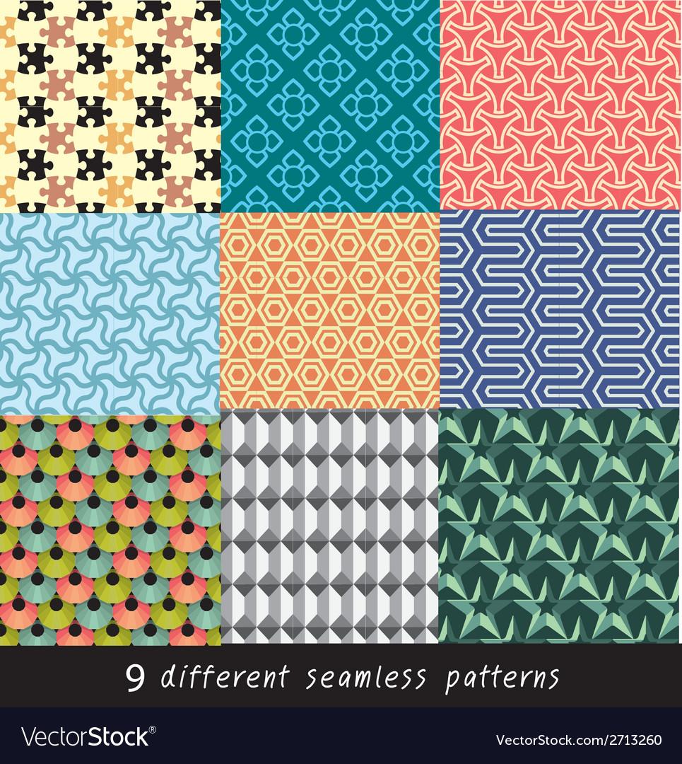 Nine geometric patterns and seamless 3D design