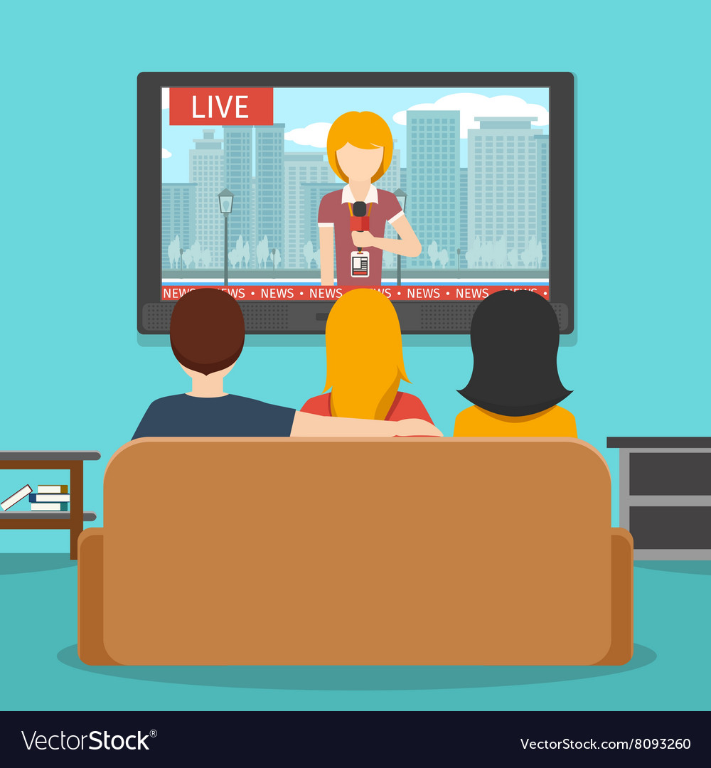 People watching news on television flat