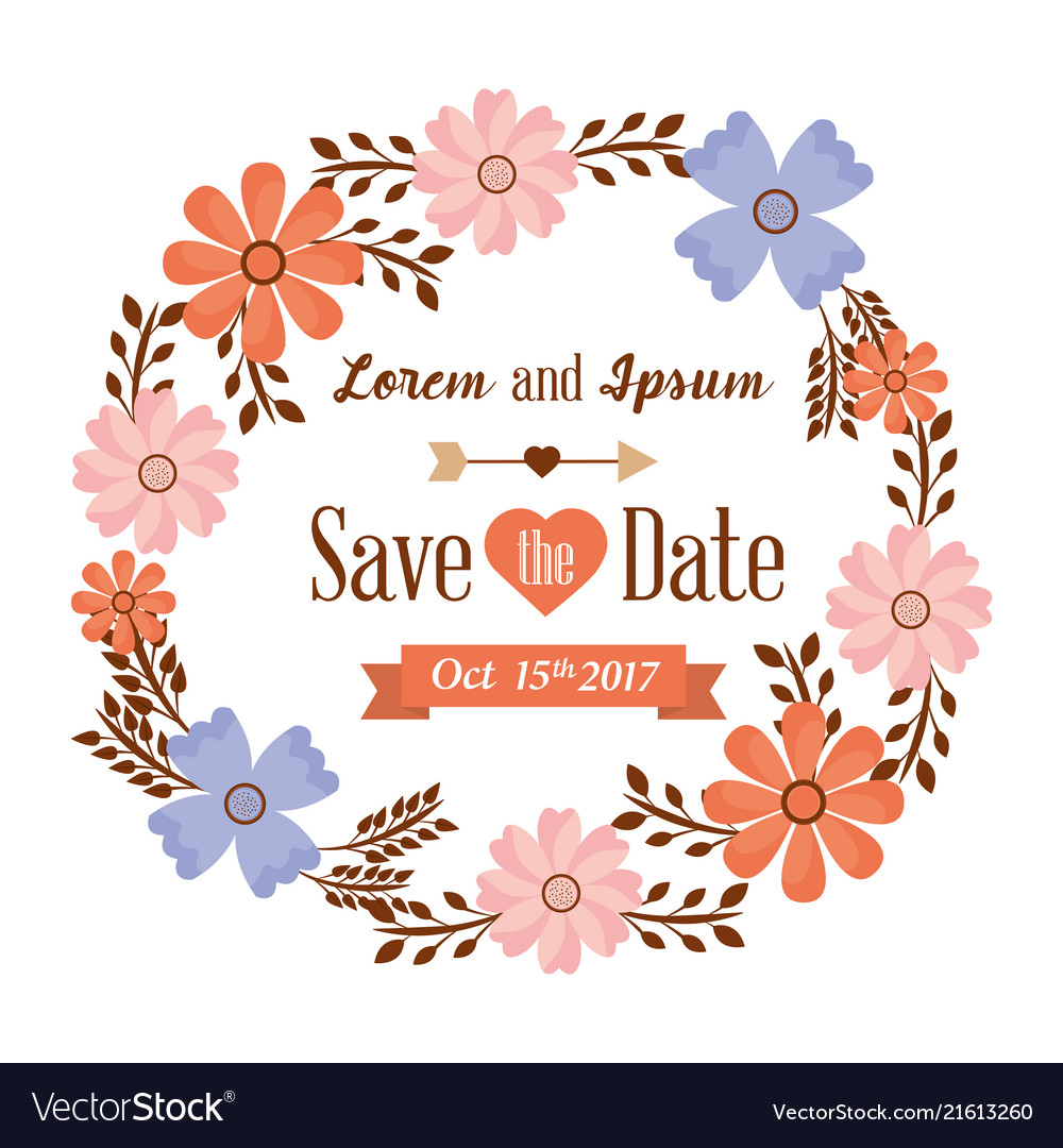 Save the date card flowers frame decoration