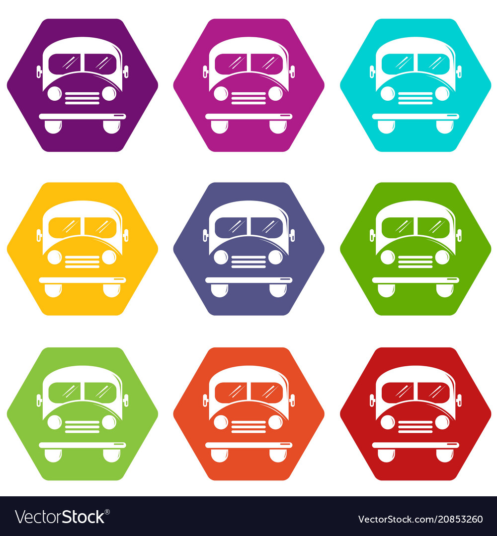 School bus icons set 9 vector image