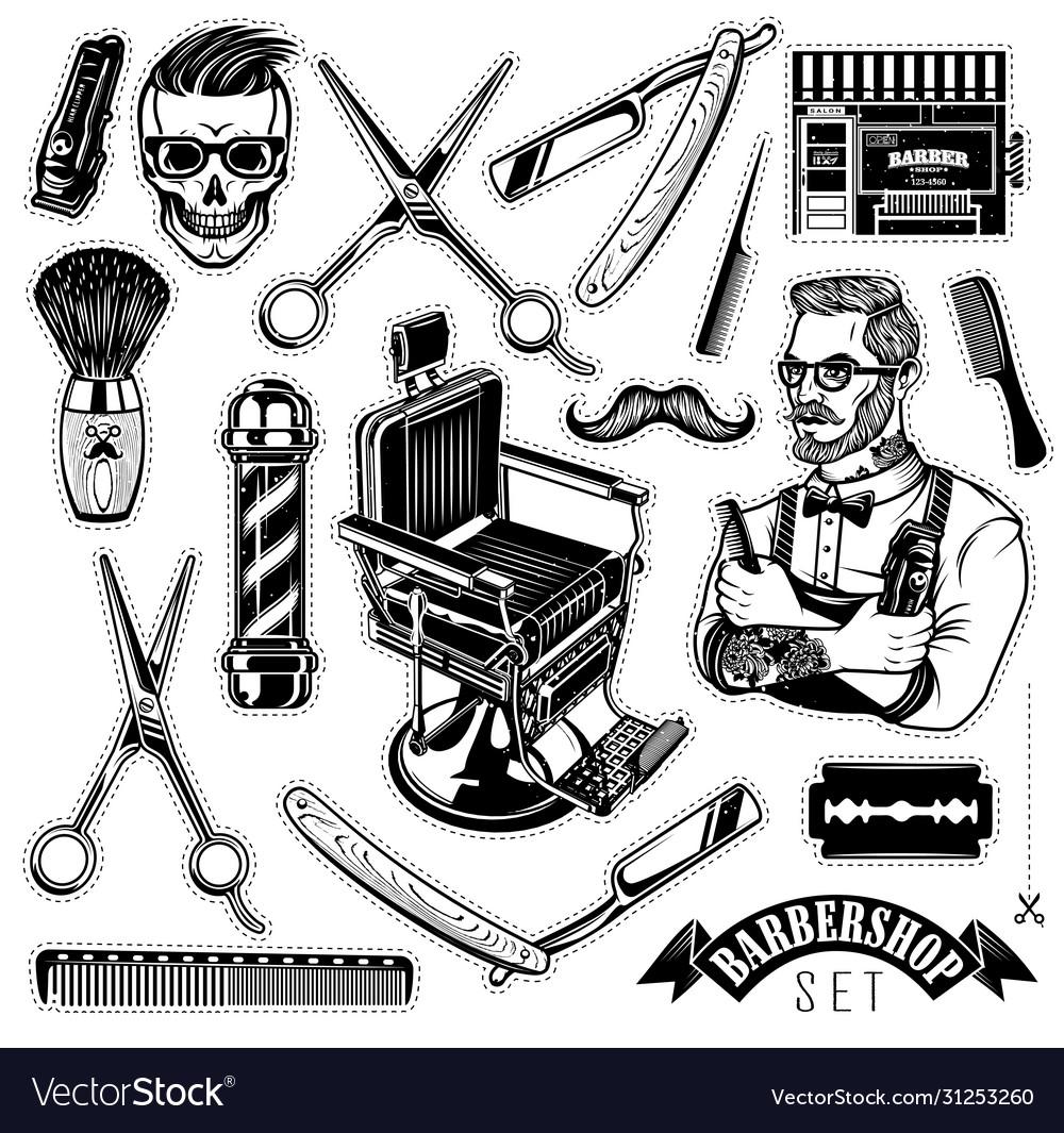 Set vintage barbershop emblems labels and