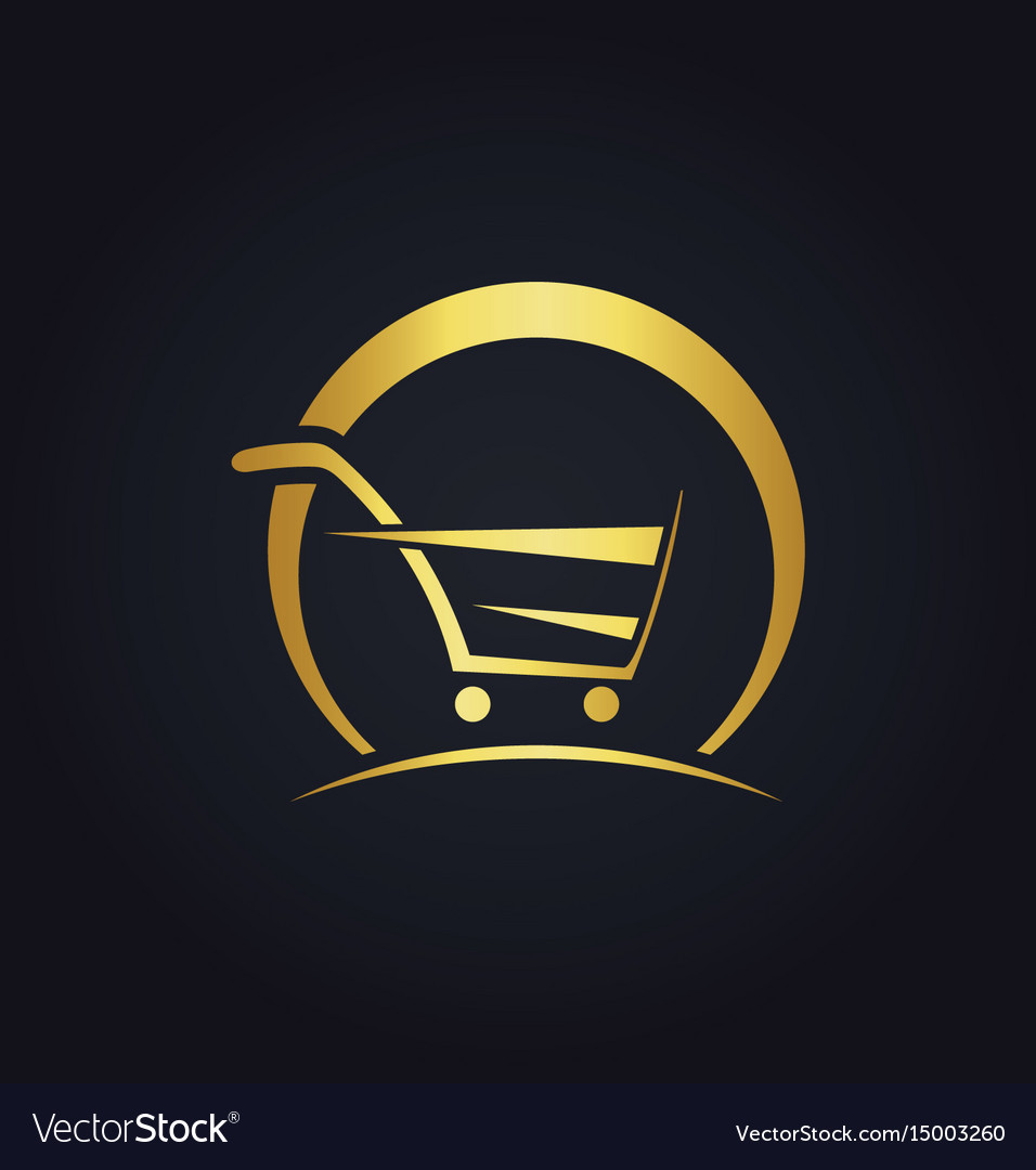 Shopping cart abstract buy speed gold logo