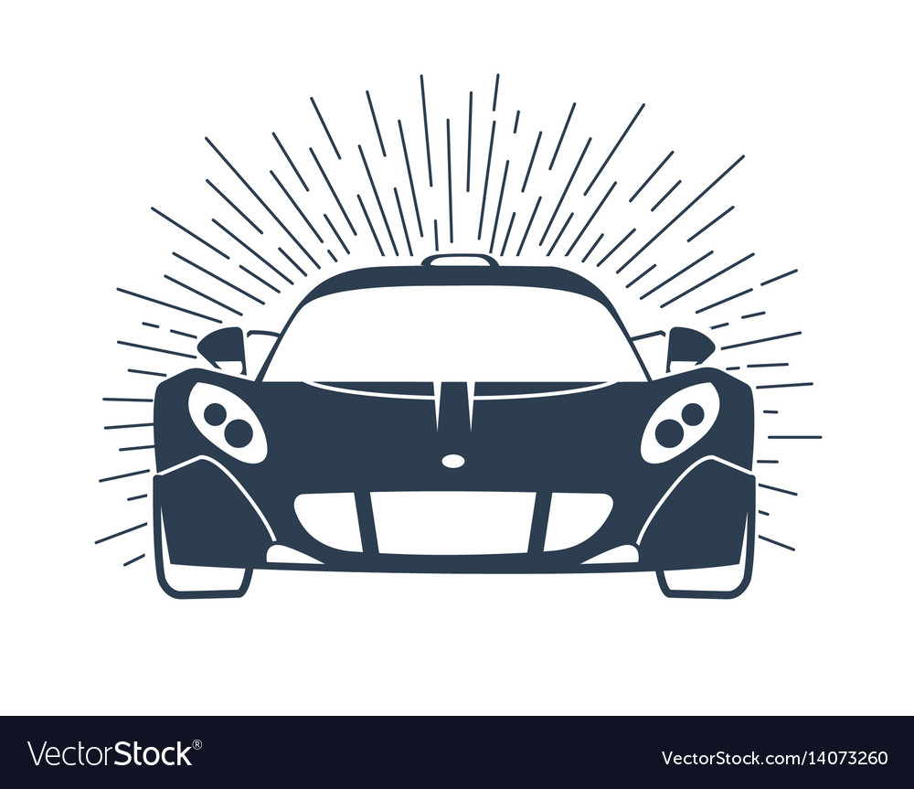 Sports cars silhouette with rays