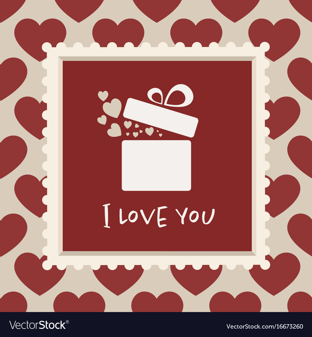 Valentines card with a gift in a frame