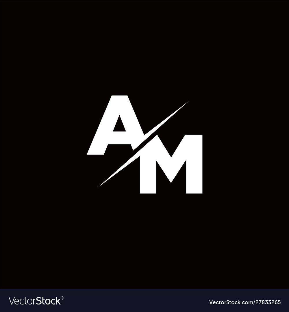 Am logo letter monogram slash with modern logo Vector Image