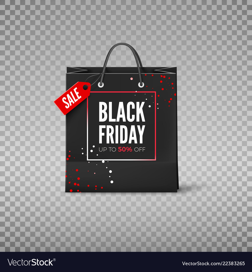 Black friday concept black paper bag with tag