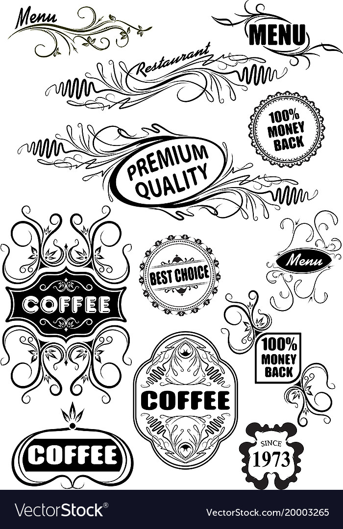 Calligraphic design elements and decorations of vector image