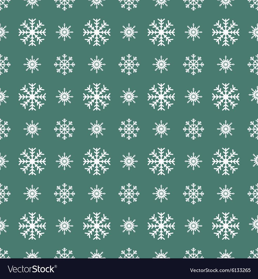 Christmas white snowflakes seamless green