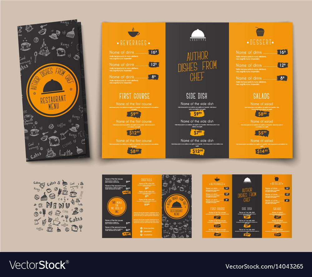 Design of a folding menu for cafes and restaurants vector image