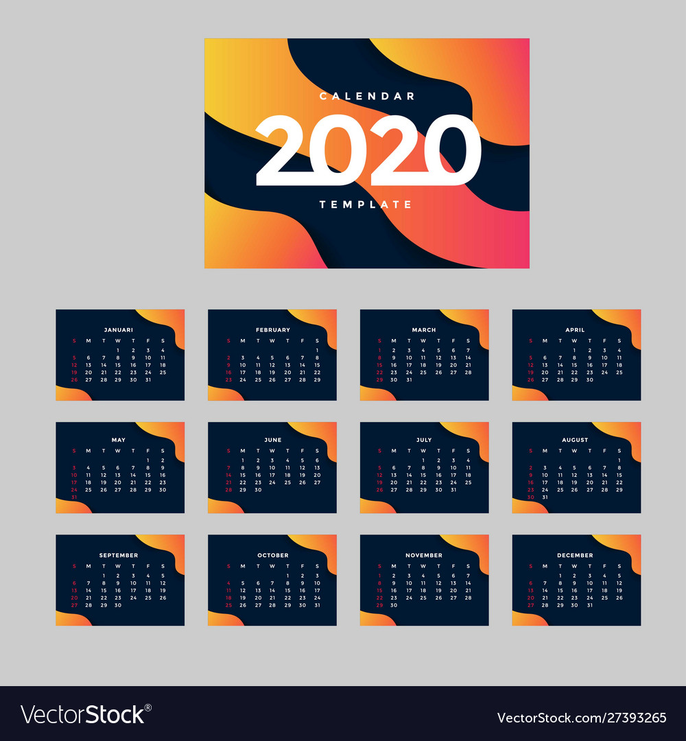 Modern corporate calendar a4 background template