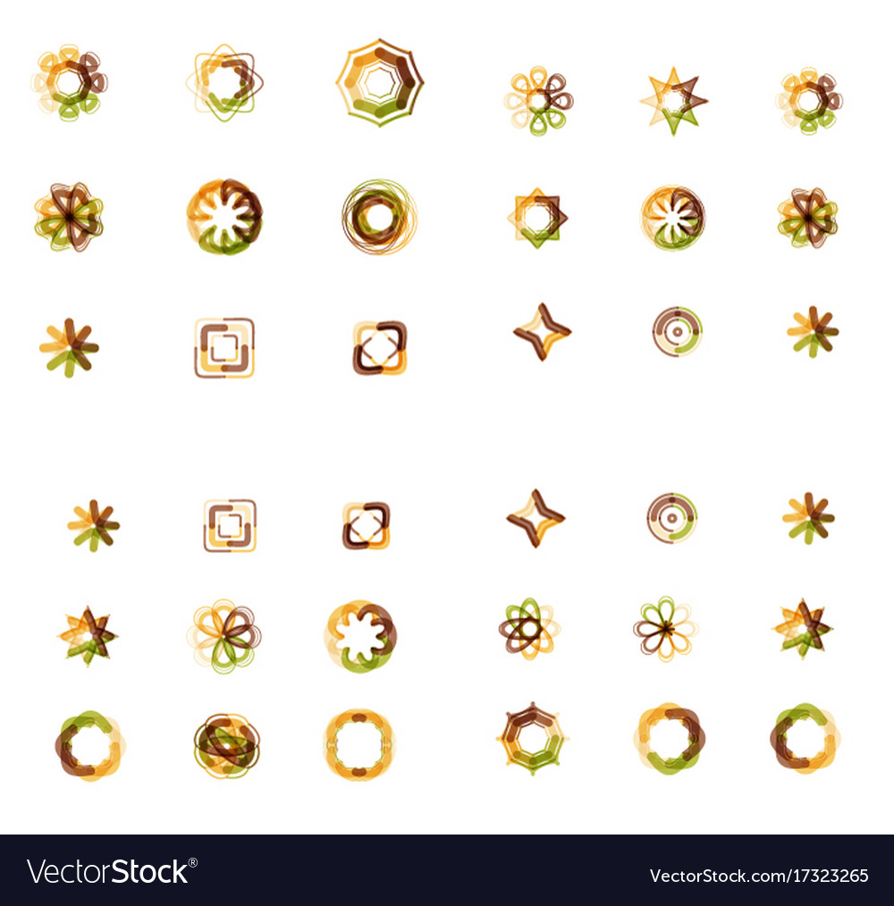 Set of abstract symmetric geometric icons vector image