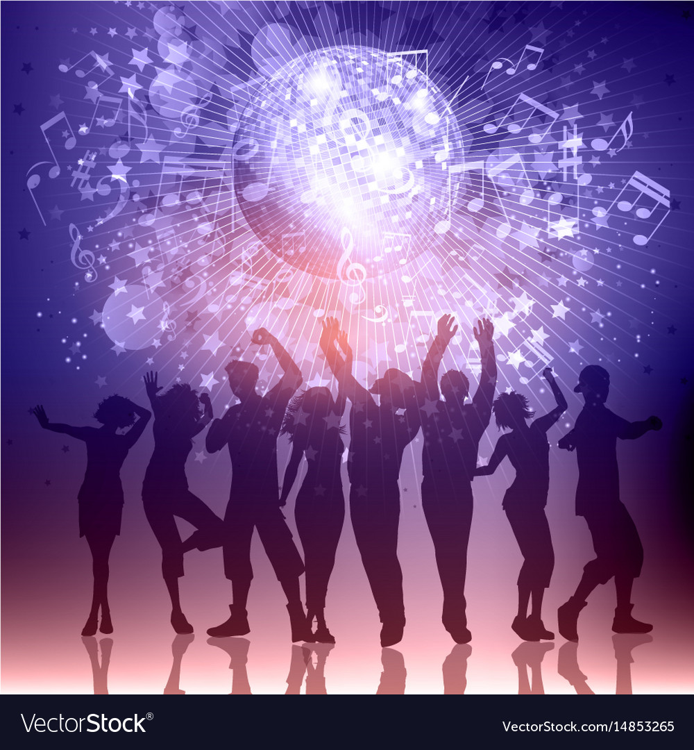 Silhouettes of party people on a music notes vector image