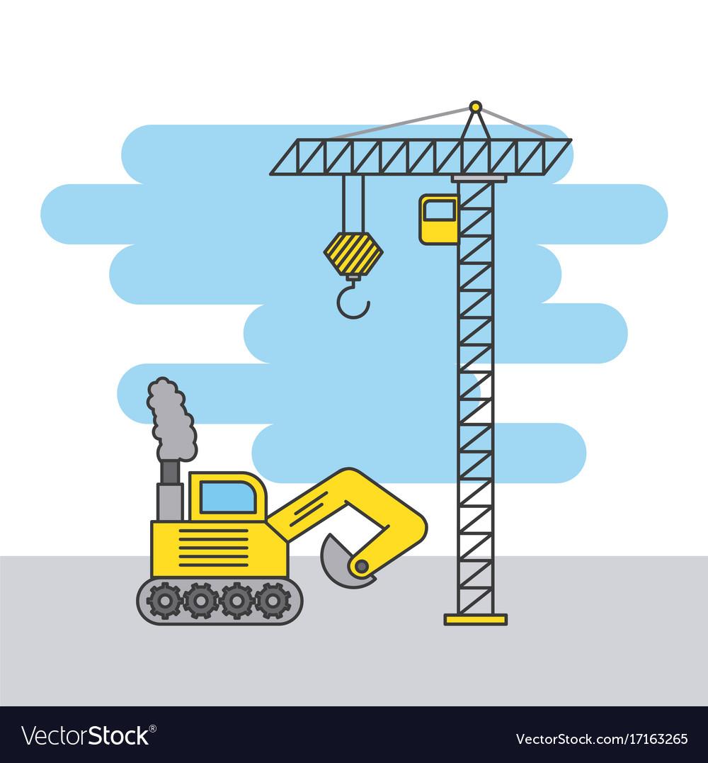 Tower crane and bulldozer truck construction