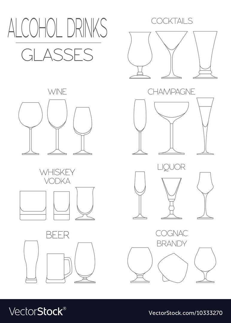 Alcohol glasses flat icon set Different alcohol
