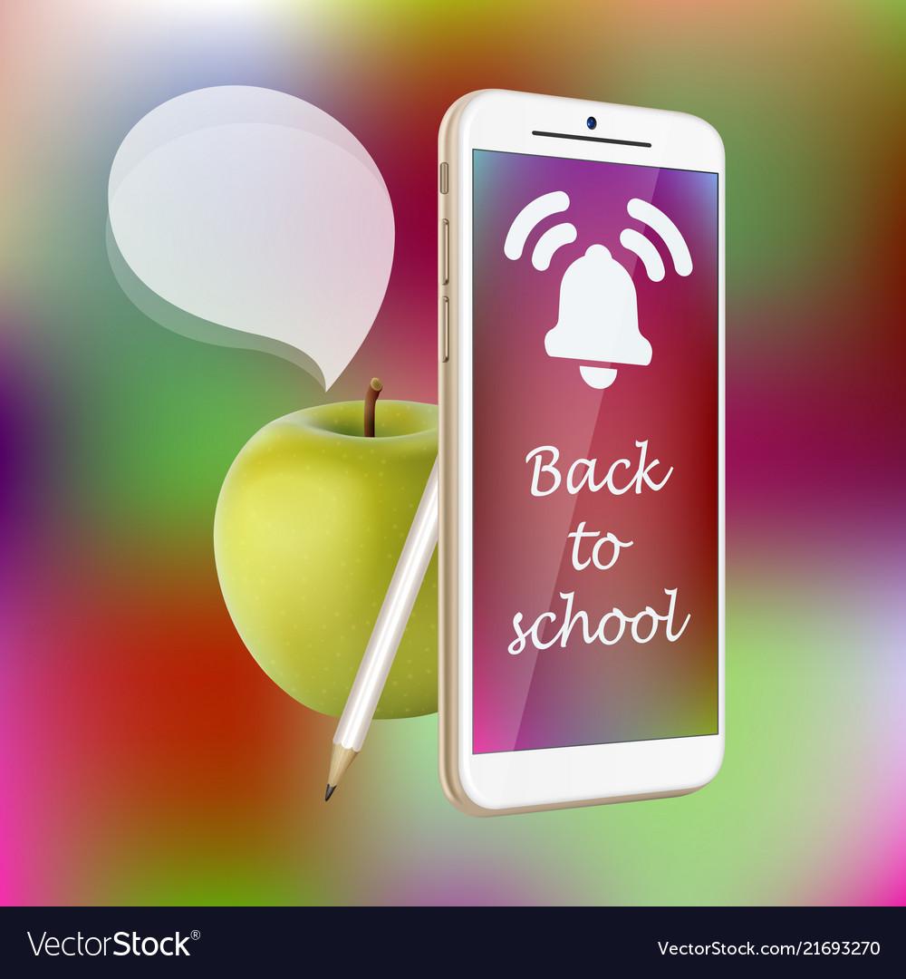 Back to school smartphone green apple pencil