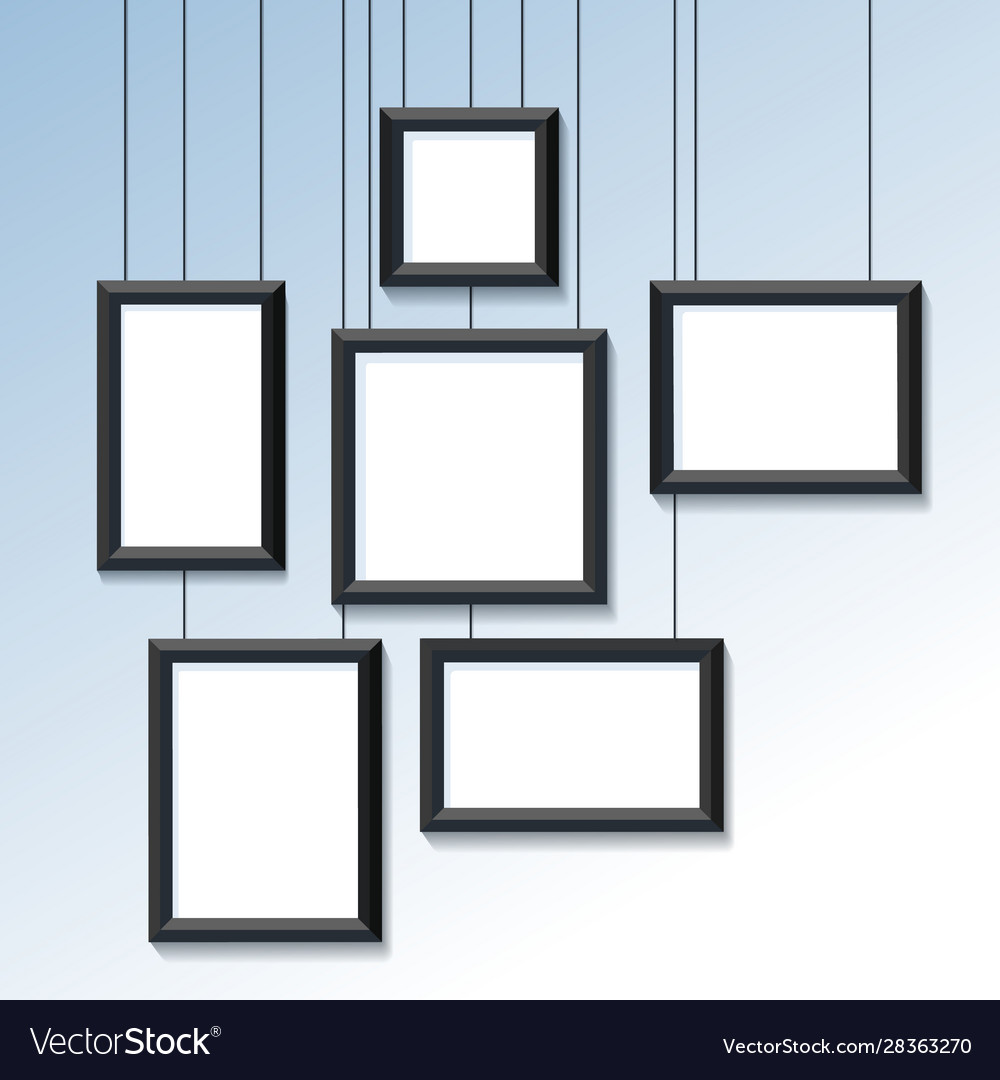 Blank pictures or photo frames on wall